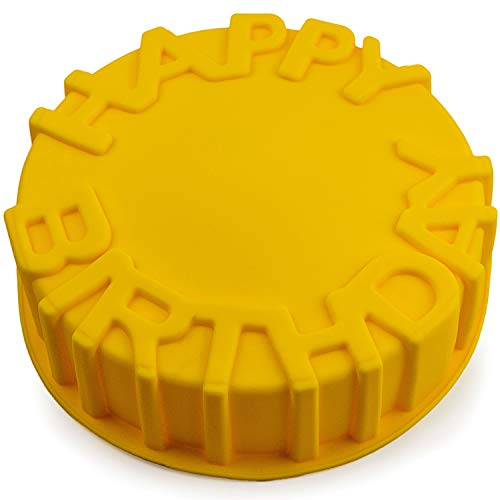 Silikonform Kuchenform, Backform, Rundform, Torte, Brotbackform, Silikonbackform, Cake, Happy Birthday, Gebäck, Qiche, Tarte, Küchenhelfer, backen, Cake-Mold, Backzubehör, Farbe: Gelb