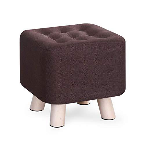Kiki reposapiés 29 cm de algodón Cuadrado Lino de Ropa de Cama hogar Creativo Taburete Moda Sala sofá Taburete sólido Madera Moderno reposapiés Taburete (Color : Brown)