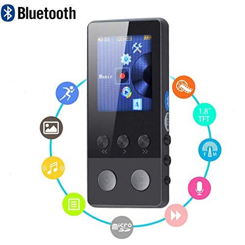Yangsanjin MP3-speler met Bluetooth, muziekspeler van metaal voor sport, draagbaar, geïntegreerde luidspreker, FM-radio, spraakopname, uitbreidbaar tot 128 GB