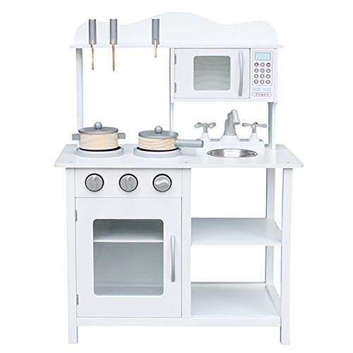 Play Kitchen Set for Toddlers – Wooden Kitchen Toys Playset – Pretend Play White Cooking Set with Accessories – Includes Sink, Oven, Microwave, Pots – Assembly Instructions Included