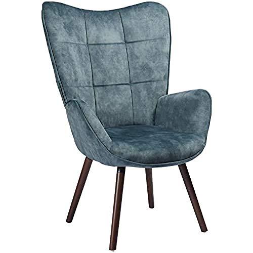 Meuble Cosy BOGDAN Poltrona Design Contemporaneo, Sedia Relax Soggiorno, Lounge, Salotto, Blu (Blue Dark Wood Leg)