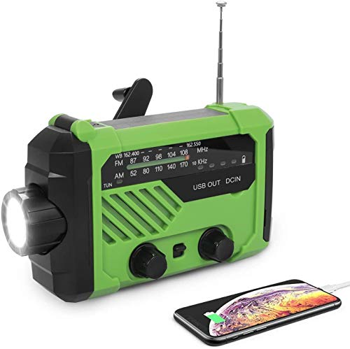 Emergency Radio, Solar Crank NOAA Weather Radio Hand Crank Radio with AM/FM, LED Flashlight, Reading Lamp, 2000mAh Power Bank Phone Charger and SOS Alarm for Household and Outdoor Emergencies