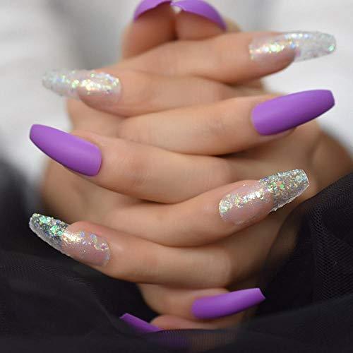 CSCH Faux ongles Ballerine extra longue mate faux ongles lavande profonde violet givré faux ongles mélange holographique paillettes manucure conseils 48 unités
