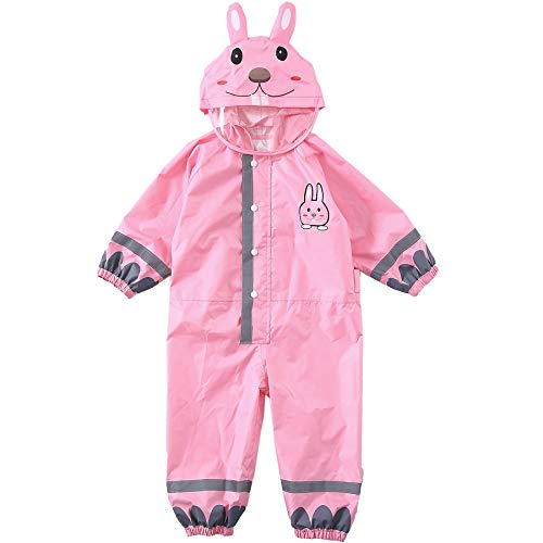 LIVACASA 3D Cute Raincoat Kids Waterproof Breathable Rainsuit All in One Puddle Suits Boys Girls Hooded Muddy Suit with Reflector Lightweight PVC Transparent Hat Brim for Kids Pink L 7-10 Years