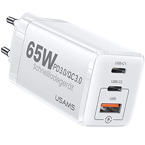 YOUSAMS USB-C Ladegerät 65W GaN: USB C Netzteil 3-Port Schnellladegerät Kompatibel mit MacBook Pro/Air   iPhone 12 Pro   Dell XPS 15   Galaxy S21   Pixel   Switch   MagSafe