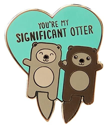 """Tiny Bee Cards -""""Significant Otter"""" Otters Holding Hands Hard Enamel Lapel Pin"""
