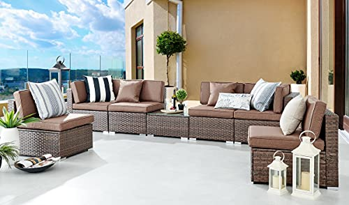 Furniturebox UK Orlando Brown Rattan Modular Outdoor Garden Sofa Set FREE COVER 6 Seater Furniture PE Resin Rattan Brown Cushions Casual Seating Coffee Table