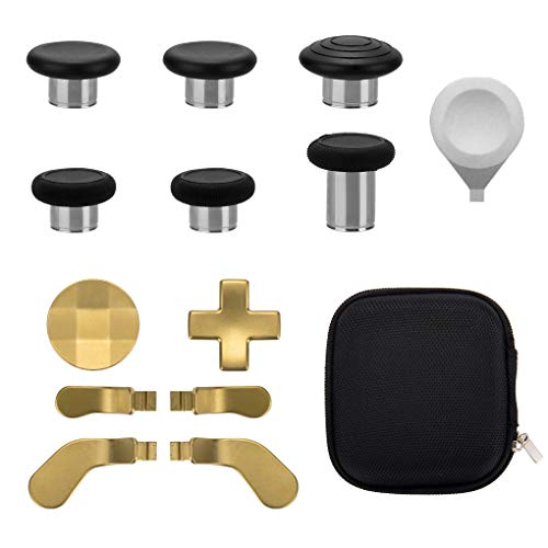 13 in 1 Metal Thumbsticks for Xbox One Elite Series 2, Xbox One Elite 2 Controller Parts, Gaming Accessory Replacement Parts, Metal Mod 6 Swap Joysticks, 4 Paddles, 2 D-Pads, 1 Adjustment Tool(Gold)