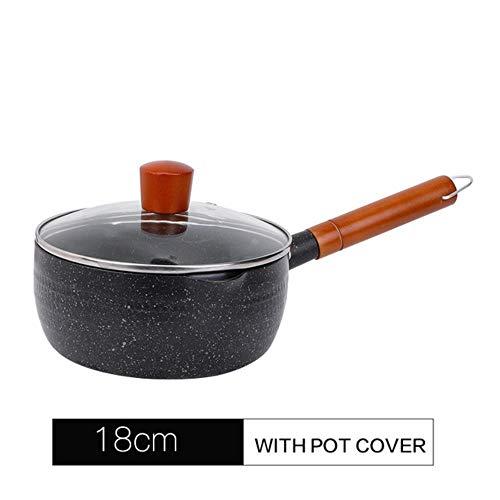 Ksde Sneeuw Pan Aluminium Nonstick Saucepan Houten Handvat Cooker Gekookte Pap Voor Gas Fornuis Keukenbenodigdheden18/20 Cm
