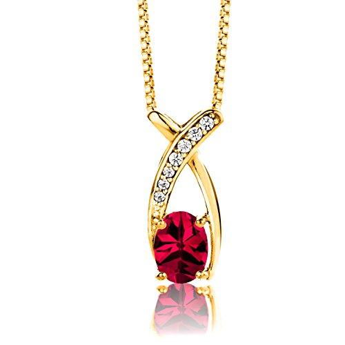 ByJoy Collar Mujer Plata de Ley (925/1000) Plata Talla Ovalada Rojo Granate Circonita