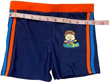 YKZ Stretchy Boys Swim Trunks 2T 3T Toddler Swim Shorts Little Boys Bathing Suit Swimsuit Toddler Boy Swimwear Navy Blue with Orange Band