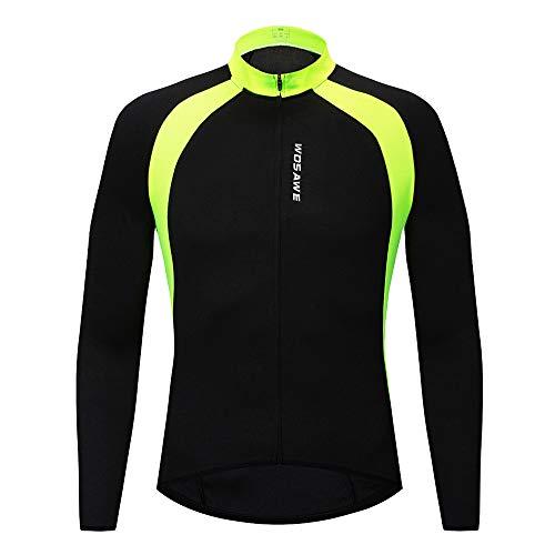 WOSAWE Maillot Ciclismo para Hombre, Transpirable Camiseta de Manga Larga Bicicleta MTB Jersey para la Primavera Otoño (Negro S)