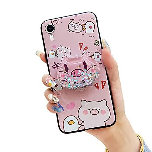 Funda de teléfono Lulumi duradera para iPhone XR, Foothold Stars Back Cover Toy Silicona Suave Carcasa TPU Reducción del estrés, Brillo, Funcional Flexible Brillante Suave Kickstand, Cerdo Rosa y Pato