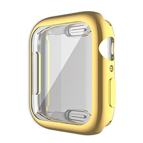 HHKHFA Funda de reloj para reloj Series 6, 5, 4, 3, 2, 1, 42 mm, 38 m, 40 mm, 44 mm, protector de pantalla delgado y suave de TPU para reloj 6/5/4 (color: dorado, diámetro de la esfera: 44 mm)