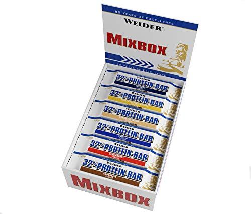 Weider 32% Protein Bar 60g Mix Box 24 leckere Eiweißriegel mit Schokoladenüberzug