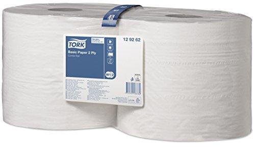 Tork 129262 Papel básico de dos capas/Paños de papel compatibles con los sistemas W1 y W2 / Universal / 2 x bobinas de 340 m/color blanco