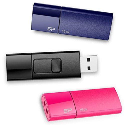 Silicon Power SP048GBUF2U05VCMBT USB-Stick (16 GB, USB 2.0, für Windows, Schwarz / Blau / Pink, 3 Stück