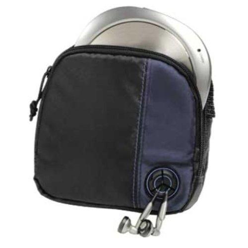 Hama CD-Player-Tasche für Discman & 3 CDs (mit Kabelausgang & Gürtelschlaufe) schwarz/blau