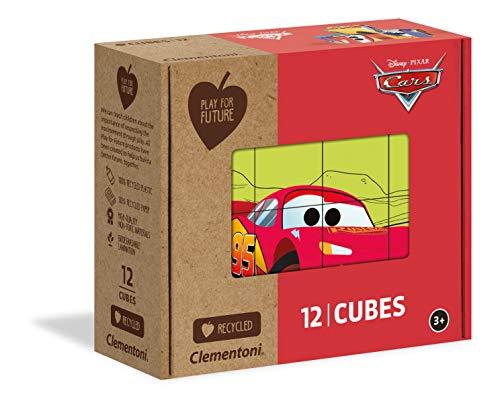 Clementoni Play For Future-Disney Pixar Cars-12 pezzi-materiali 100% riciclati-Made in Italy, puzzle cubi bambini 3 anni+, 45001
