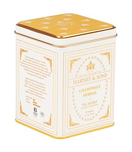 Harney & Sons Chamomile Herbal Tea, Classic Tin, 20 Sachets, white