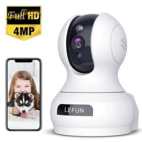 4MP Wireless Security Camera, Lefun WiFi Baby Monitor Surveillance IP Camera with Sound Detection Two Way Audio Cloud Service Night Vision Supports 2.4GHz Network for Home Pets Elders Babies