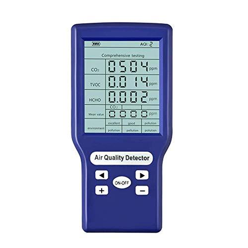 ETE ETMATE Luftqualitätsmonitor Genauer Tester für CO2-Formaldehyd (HCHO) TVOC ppm-Messgeräte Mini-Kohlendioxid-Detektor Gasanalysator Protable Air Quality Tester