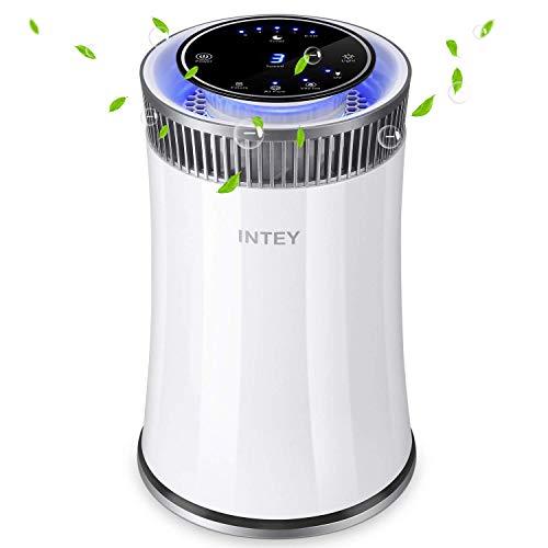 INTEY Luftreiniger Timer Air Purifier Hepa Kombifilter & Aktivkohlefilter, 5-Stufen-Filterung für 99,98% Filterleistung und Nachtlicht, perfekt für Allergiker und Raucher