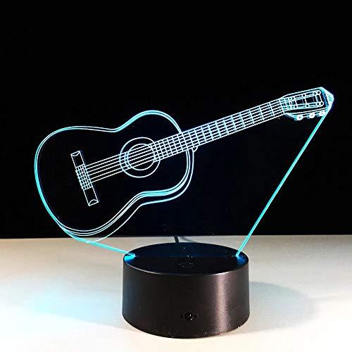 Luz de noche LED con forma de guitarra creativa, luz fluorescente 3D para niños, sensor táctil USB, luz LED, dormitorio, decoración de oficina, góndolas