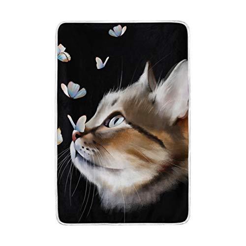 CPYang Überwurfdecke mit niedlichem Katzenmotiv und Schmetterlingsmuster, weich, warm, Mikrofaser, für Erwachsene, Mädchen, Jungen, Kinder, 152 x 229 cm