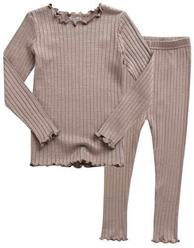 VAENAIT BABY Kids Girls Long Sleeve Modal Sleepwear Pajamas 2pcs Set Shirring Beige L