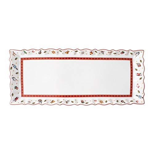 Villeroy & Boch - Toy's Delight Königskuchenplatte, rechteckiger Servierteller aus Premium Porzellan, mikrowellensicher, bunt/rot/weiß, 39 x 16 cm