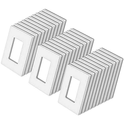 [30 Pack] BESTTEN 1-Gang Screwless Wall Plate, USWP4 White Series, Decorator Outlet Cover, H4.69