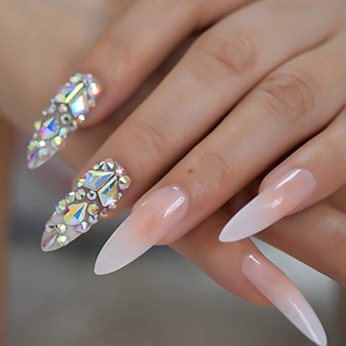 EchiQ Luxury 3D AB Gems Gradient Pink Nude Press on Nails Baby Ombre Extra Long Stiletto False Fake Nail Tips Pointed Fingers Nails