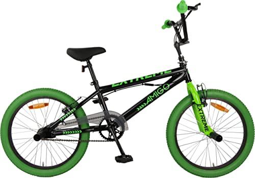 Amigo Extreme - Kinderfahrrad für Jungen - 20 Zoll - mit Handbremsen und Lenkerpolster - BMX Fahrrad - ab 5-9 Jahre - Schwarz/Grün