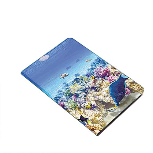 Case for iPad Air 10.5' 2019 (3rd Generation) & iPad Pro 10.5 2017,Underwater Sea World Scene with Goldfish Starfish Jellyfish Depth Diving Concept PU Leather Business Folio Cover,with Stand,Pocket an