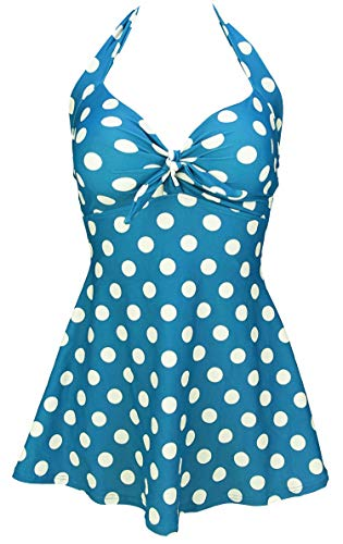 COCOSHIP Ibiza Blue & White Big Polka Dot Retro Sailor Pin Up Swimsuit One Piece Skirtini Cover Up Cruise Swimdress Beachwear XL