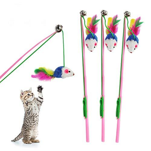 Tookss Katzenspielzeug in Mausform, mit farbiger Feder, interaktives Spielzeug für Haustier-Training One siehe abbildung