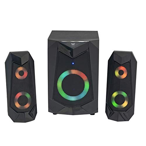 Woxter Big Bass 180 FX - Altavoces 2.1 (20W, Subwoofer, Rejilla metálica, Leds RGB, Ideal para TV, PC y videoconsolas), Bluetooth