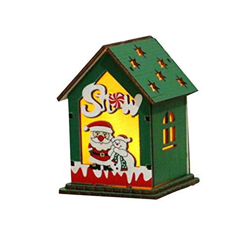 globalqi Weihnachtsschmuck LED Holzhütte Leuchtende Weihnachten Haus DIY Chalet Dekoration Weihnachtsbaum Hängen Urlaub Lieferungen für Hotel Bar Supermarkt (4 Farbe Beleuchtung)