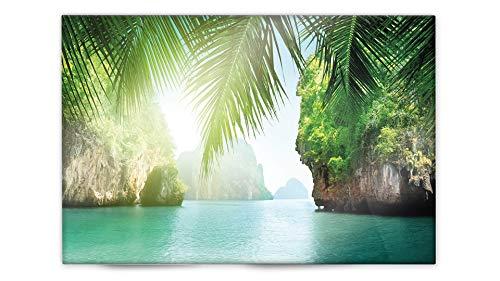 Glasvision | Küchenrückwand aus Glas | Spritzschutz | Memoboard | Herdabdeckplatte (60 x 40 cm, Caribbean Bay)