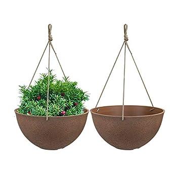 Hanging Flower Pots for Outdoor Plants Garden Hanging Planters Set of 2 13.2  Terracotta Color