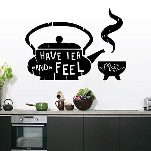 LSMYE Mode Trinken Sie Tee und fühlen Sie sich wasserdichte Wandaufkleber Home Decor Abnehmbare Wandaufkleber Dekor Wandtattoos Gold XL 57 cm x 79 cm