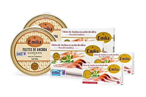 Anchoas de Santoña en aceite de oliva Emilia Serie Oro. PACK 2...