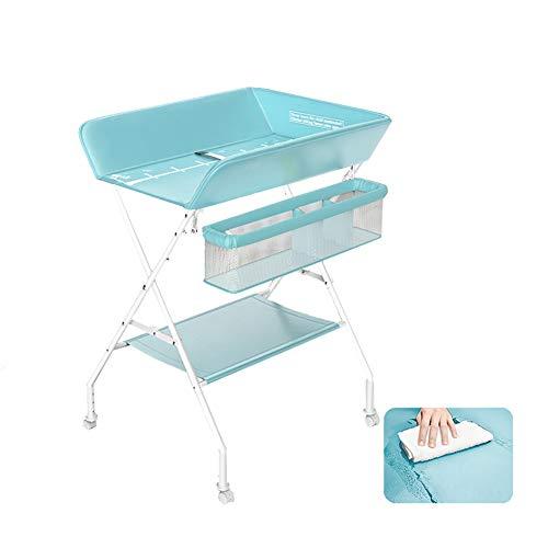 SUBBYE Baby-Wickeltische, Faltbare Baby-Badewanne Verändernden Dresser Tabelle Unit (PU-Leder-Kissen), Kreuzbein-Art für Home Reise (Color : Lake green)