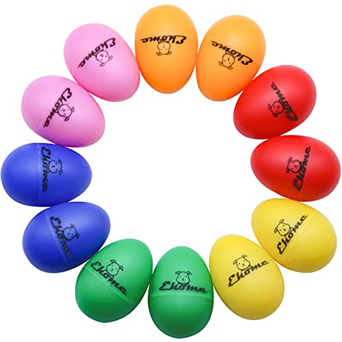 Ehome Plastic Egg Shakers 12Pcs, Musical Maracas Percussion Instrument (6 Colors) Easter Eggs Music Learning Toys for Kids Birthday Halloween Christmas Gift