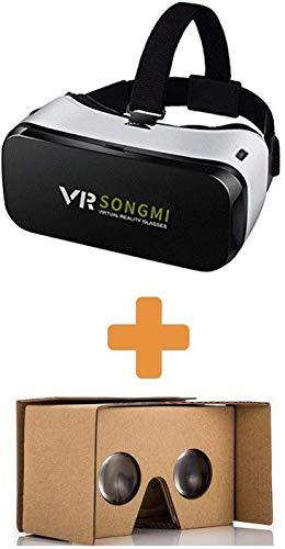AOOK Virtual-Reality-Headset, 3D-VR-Brille für 360-Grad-Videos/Filme/Spiele in 4-5,7 Zoll iPhone 5 6S Plus Samsung S6 Edge Note 5 LG G3 G4 Nexus 5 6P (Schwarz + Kartonvr)