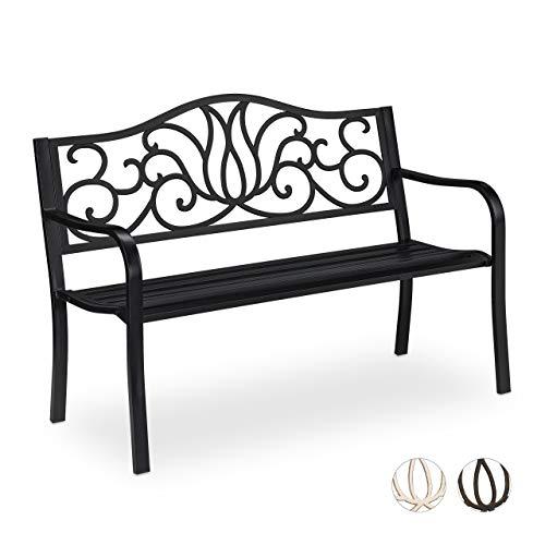Relaxdays Gartenbank Antik für 2 Personen, Balkon, Terrasse, Premium Rostschutz, Metallbank 90x127,5x63 cm, schwarz