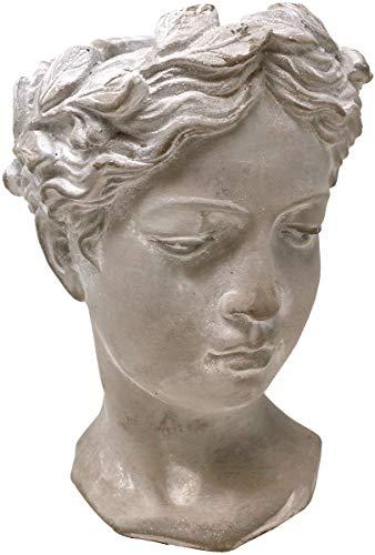 Pflanztopf Büste Helena, Zement, grau, 27 cm, Blumentopf Frauenkopf Antik Design
