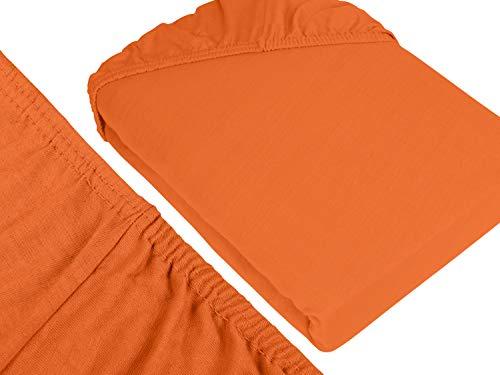 npluseins klassisches Jersey Spannbetttuch – erhältlich in 34 modernen Farben und 6 verschiedenen Größen – 100% Baumwolle, 70 x 140 cm, terrakotta - 3