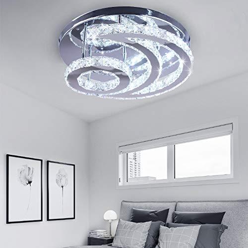 CXGLEAMING Moderna lámpara de araña de cristal de luna LED, luz blanca...